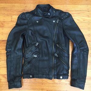 Zara real lamb leather Moto jacket Sz XS